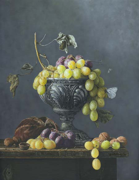 Grapes in a silver vase